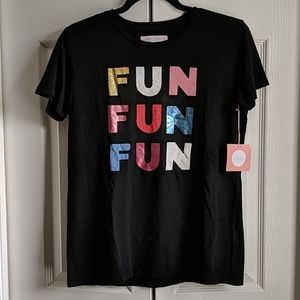 "NWT ban.do ""fun fun fun"" black graphic t-shirt"